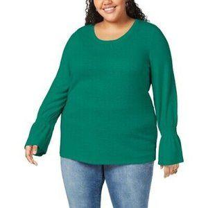 NWT Style & Co Green Ruffle Sleeve Tunic Top 3X